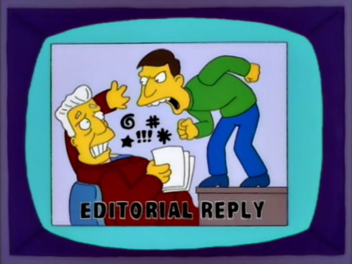 """And now, with an editorial reply, a small girl!"""